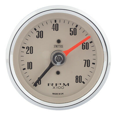 Classic Mini Gauge Tacho Auxiliary Electric Magnolia Face 80mm 0-8000K GAE130M