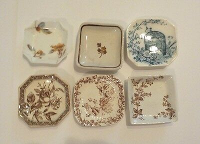 Group/6 Antique English/limoges Transfer Ware Butter Pats - Instant Collection!