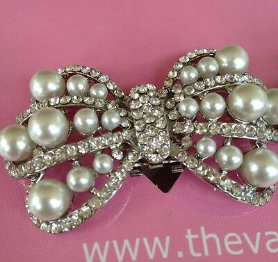 Jessica Pearl Crystal SHOE CLIPS  BRIDAL WEDDING  *free Shipping**UK SELLER*