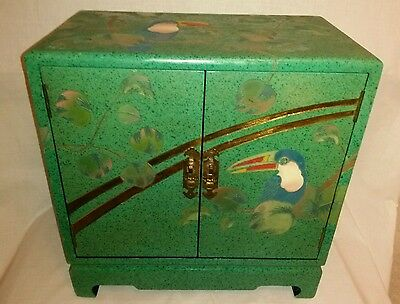 "Antique Japanese Green Laquer Cabinet Pair of Pearched Toucans - 20"" x 19"" x 11"""