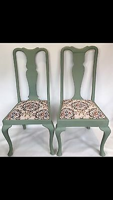 Vintage Revived Queen Anne Pair Of Chairs Autentico