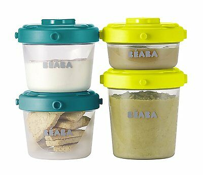 BEABA Clip Containers Set of 6, 2oz & 4 oz for snacks baby food Peacock Neon