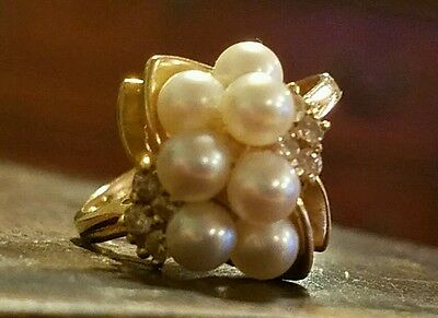 VINTAGE 14K YELLOW GOLD PEARL DIAMOND CLUSTER COCKTAIL RING 3.8gtw SIZE 6.5