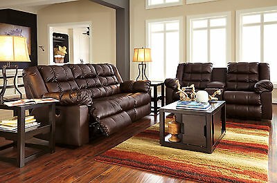 METRO - Modern Brown Bonded Leather Recliner Sofa Couch Loveseat Set Living Room