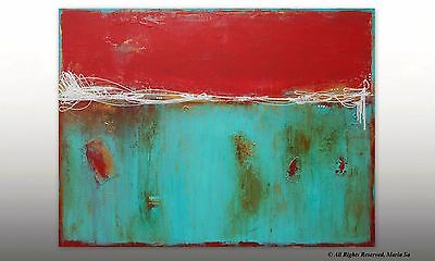 Red Turquoise & Gold Large Abstract Painting Original Acrylic Artwork Modern Art