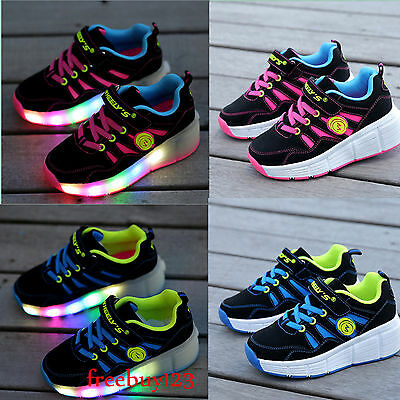 LED Light Up Shoes with Roller Skates (BLUE & PINK COLOURS)Kids/Girls/Boys Shoes