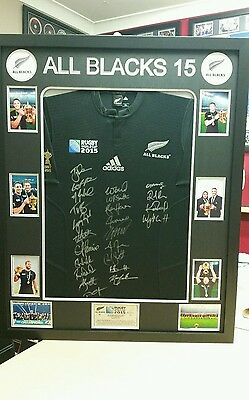 All Blacks 2015 World Champions Signed And Framed Shirt / Jersey