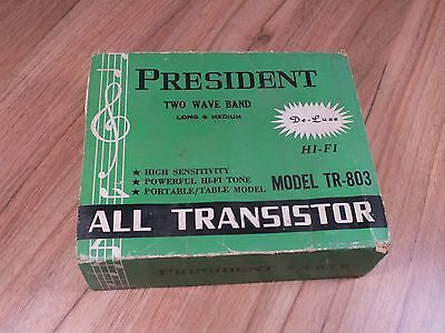 Vintage PRESIDENT LW MW Portable Transistor Radio - Boxed - Needs Repair
