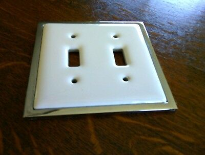 Double White Light Switch Cover Plate Porcelain Chrome Border Ceramic Toggle Fit