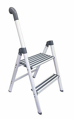 ALUMINIUM 2 STEP FOLDING LADDER with SUPPORT HANDLE caravan home diy motorhome