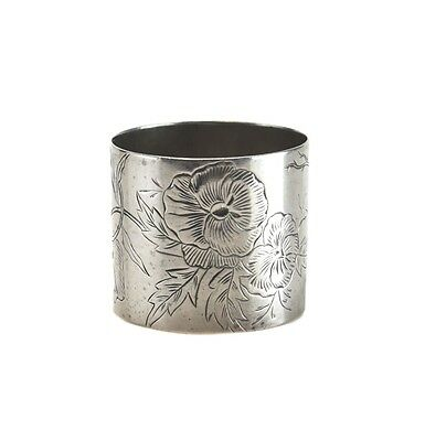 American Sterling Silver Napkin Ring, 3531 hand chased floral design, c1910