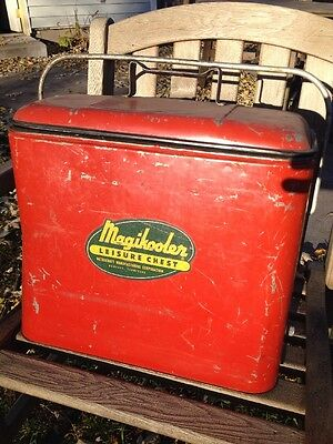 "Antique ""Magikooler Leisure Chest"" Cooler Ice Box Portable w/Locking Lid VG Cond"