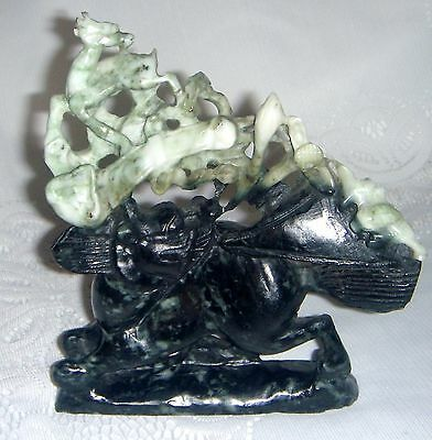 Old Chinese Large Natural Dushan Jade Carving Fire Dragon Ruyi Lucky Statue
