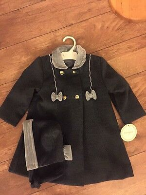 BNWT Traditional Romany Spanish Coat and hat by Quinper in Dark Grey 36 months