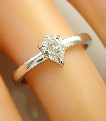 0.40 ct solitaire real diamond wedding engagement ring 18k white gold ring