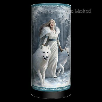 *WINTER GUARDIANS* Wolf Maiden Art Lamp By Anne Stokes (Bulb Not Included) 27cm