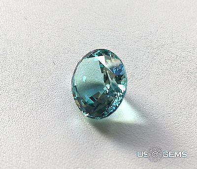 Aquamarine. Oval 14x12 mm. Oval. 9,5 Ct. NANOSITAL Created gemstone. US@GEMS