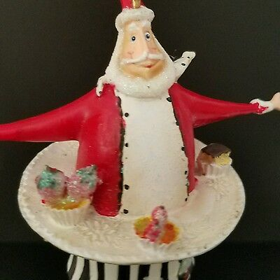 Pastry Chef Baker Santa Claus Ornament Cookie Sweets Treats Bakery Cook Cupcake