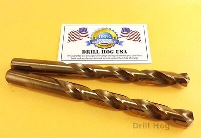 "Drill Hog 3/8"" and 1/2"" Cobalt Drill Bit M42 Twist M35 Lifetime Warranty"