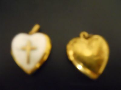 G.f. Heart Shaped  Lockets, One With Cross And Mother Of Pearl