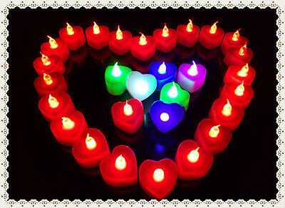 12/24 PCS Flameless Battery LED Candle Light Tealights Candles in Heart Shape