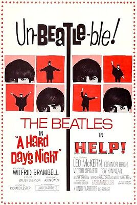 The Beatles Help & A Hard Day's Night POSTER Rare LARGE