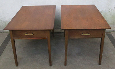 PAIR (2) OF STANLEY MID CENTURY WALNUT END / SIDE TABLES nightstand modern