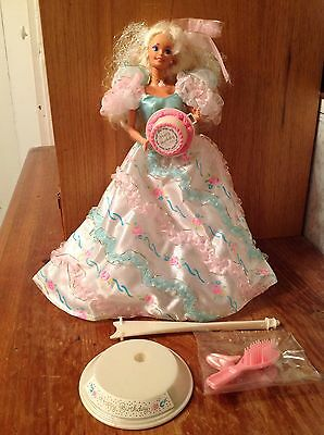 Birthday Party Barbie 1992 With Doll Stand, Cake (RITA), Brush, Shoes, Necklace