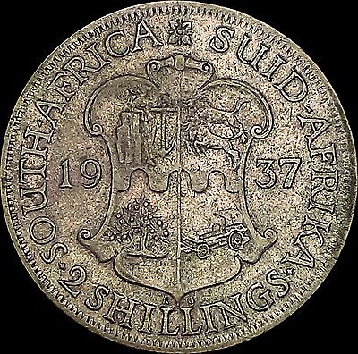 1937 South Africa Two Shillings Silver Coin George VI