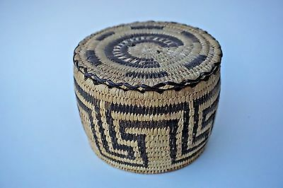 Early 20th C Pima Native American Covered Coil Basket