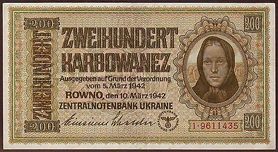 Ukraine  WWII German Occupation  200 Karbowanez  1942