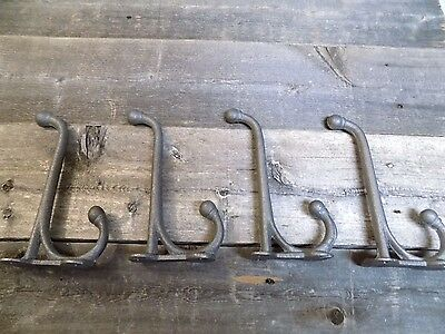 4 Cast Iron School Style Coat Hooks Hat Hook Rack Hall Tree Harness Restoration