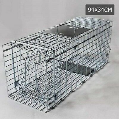 NEW Galvanised Iron Wire Spring Loaded Door Humane Animal Trap Cage 94x34x36cm