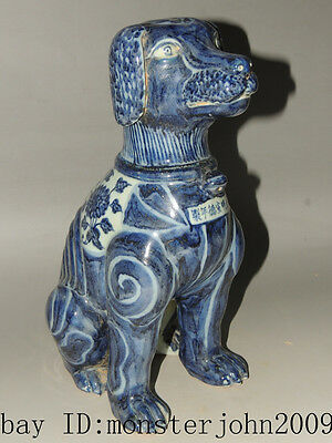 Rare Chinese blue&white porcelain Statues Dogs
