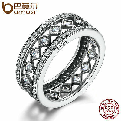 Bamoer Retro S925 Sterling Silver Ring Vintage Fascination and Clear CZ Size 6-8