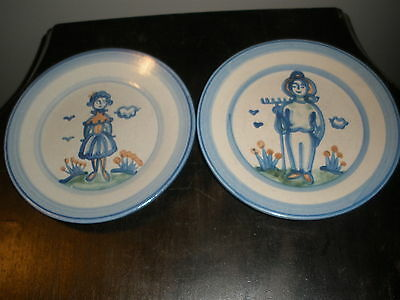 M A Hadley Salad Plates Lot of 2 Farmer Wife Country Collection
