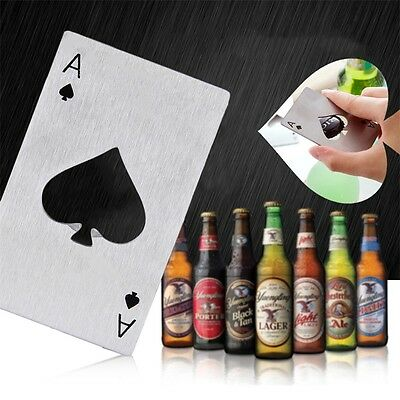 Playing Card Ace of Spades Poker Bar Tool Bottle Soda Beer Cap Opener Gift I6