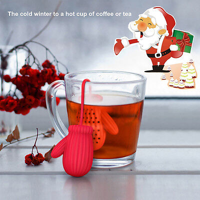 Father Christmas Glove Infuser Silicone Loose Tea Leaf Strainer Filter Diffuser