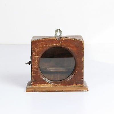 Vintage Old Wooden Hand Carved Wall Fixing Alarm Clock Case Box-Ebay_3649Rb10