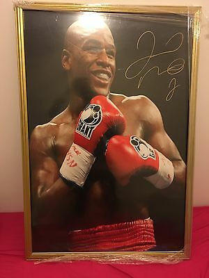 Framed Floyd Mayweather Jr Hand Signed Photo 36x24 TBE TMT Money Poster RARE COA