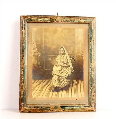 Vintage B & W Photograph Lady Sitting On A Chair Holding A Book  Framed 5990R1