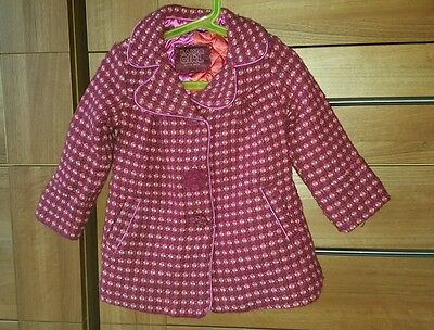Ted Baker Girls Winter Coat. Pink and Orange. 2-3 years.