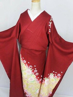 B43 Vintage Japanese Kimono Furisode Silk Unused Excellent Red Cherry Blossoms