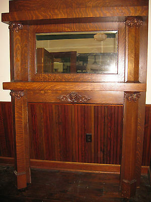 Quarter Sawn Oak Fireplace Surround Lion Head Early 1900's Architectural Salvage