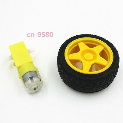 Smart Car Robot DC 3-6v Gear Motor with Plastic Tire Wheel For arduino