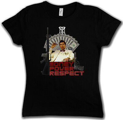 MONEY POWER RESPECT GIRLIE T-SHIRT - Tony Al Montana TM Mob Pacino mob Scarface
