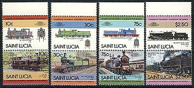 """St. Lucia complete MNH set of 8 in Pairs , """"Locomotives"""""""