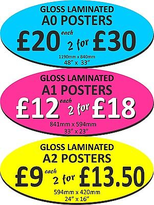 Encapsulated POSTER PRINTING from your design A0, A1, A2 Laminated & Waterproof