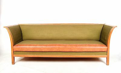 Antique Vintage Sofa French 4 Seater Settee Couch Green Lounge Art Deco