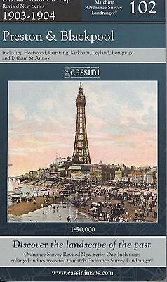 Cassini Historical Map Matching OS 102 PRESTON & BLACKPOOL 1903-1904 NEW